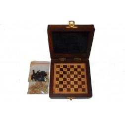 **scacchi artigianali di legno di viaggio 13cm
