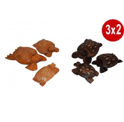 **3 x 2 Conjunto de 3 Tartaruga de madeira Cinzeiro (vários modelos)
