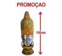 **Buddhakopf Büste mit eingearbeiteten Glaskristallen 100cm