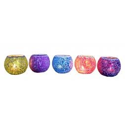 **Castiçal de vidro médio mosaico (10cm de altura) Preço por unidade