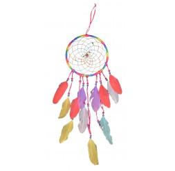 **Apanhador de sonhos laços arco-íris 19.5cm Ø (Preço unitário)